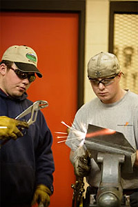 Two students at work