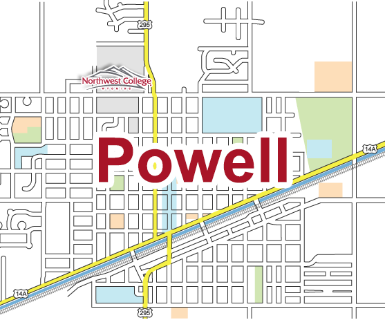 Map of Powell, WY