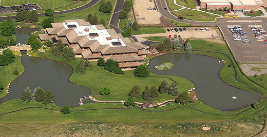 Aerial photo of the Park County Building in Cody